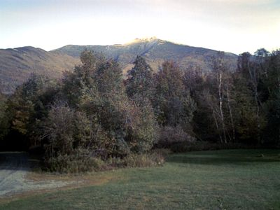 Fall view of Mt Mansfield from deck