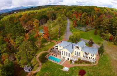 river house: a view from a drone