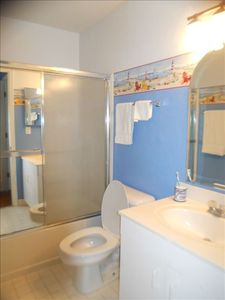 Private attached Master Bath includes hair dryer and other ammenities