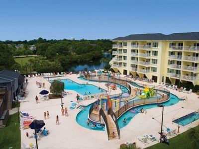 Entire Pool area. Lg adult pool,lazy river and childrens fun water pool.