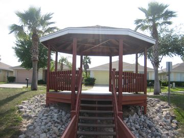 Gazebo leading to the fishing dock