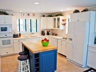 Edgartown house photo - Gourmet Kitchen With Butcher Block Island is Well-Equipped For Vacation Entertaining