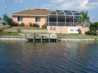 Cape Coral house photo - Rear freshwater canal, dock, boats, fishing