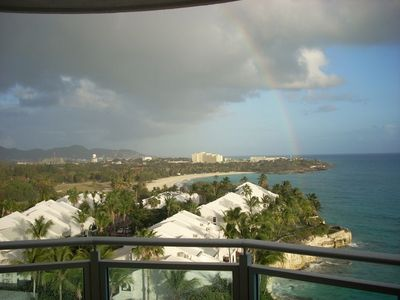 Rainbow View from Main Balcony Looking East Toward Mullet Bay and Dutch Mtns.