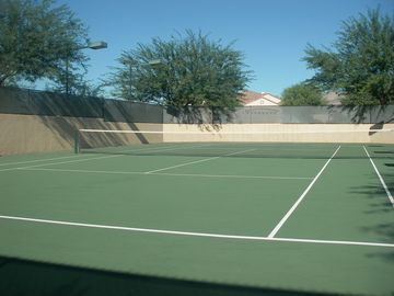 Our Tennis Court, no fees, 300 feet from our front door!