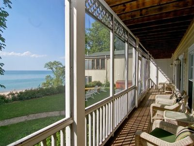 Union Pier house rental - Your screened porch facing the lake