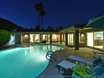 Palm Springs house rental - Outside Pool, Evening, With View Of House