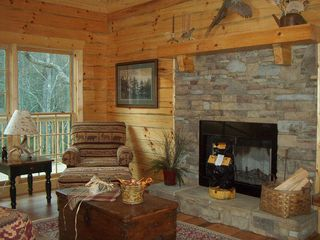 Wears Valley cabin photo - Great Room with Real Fireplace