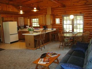 Eagle Mountain Lake house photo - Great room, kitchen, dining area, reclining sofa