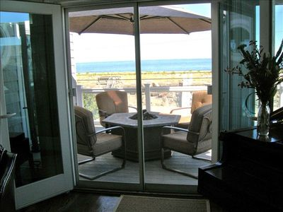 Family Room balcony with gas firepit and Atlantic Ocean View