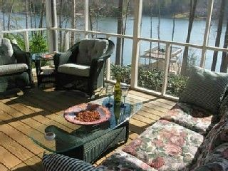 1 of 2 screened porches overlooking lake