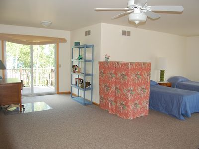 Port Sanilac house rental - upstairs deck and desk from the sitting area