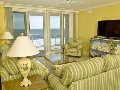 Oceanfront Living Room with huge flat-screen TV & Balcony