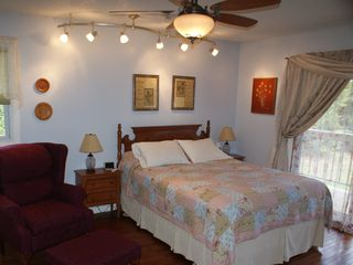 Lancaster townhome photo - Master Bedroom (Queen Bed/Alarm Clock Radio) Opens to Its Own Balcony
