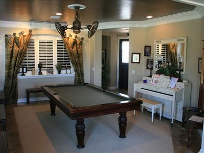 Pool Table has Ping Pong Tabletop as well as Dining Table Top for Family Reunion