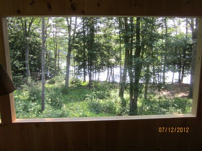 View of lake from screened in porch