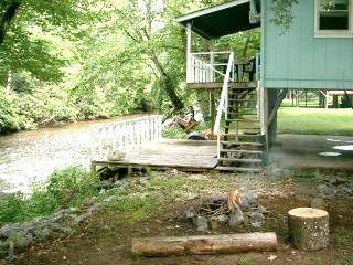 Franklin cabin photo - Perfect Campfire at Riverside! Good tent placement, too!