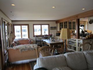 Marblehead cottage rental - Looking from living room toward, dining and sitting areas, kitchen
