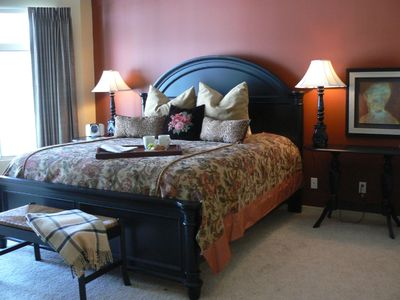 Luxurious master bedroom overlooking 18th green