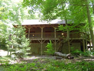 Maggie Valley cabin photo - View of the cabin from the large creek.