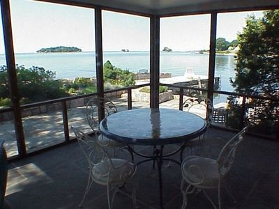 Screened Porch with view of Thimble Islands