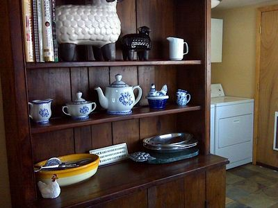 mudroom hutch with extra dishwear and cookwear... plus: Washer & Dryer!!