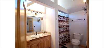 Upstairs Master Bathroom With Large Shower.