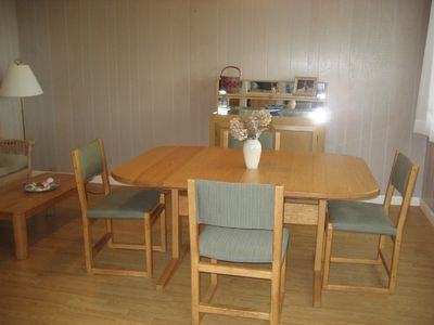 Falmouth house rental - dining room/family room with hardwood floors