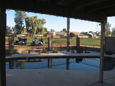 Look out the patio doors--on the 2nd hole of Desert Mirage Golf course.
