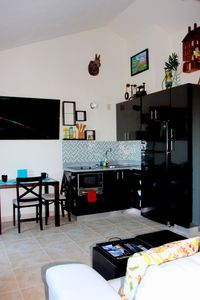 Humacao studio rental - Kitchen and Living Area