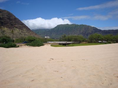 Looking in the direction of our condo from Makaha beach.