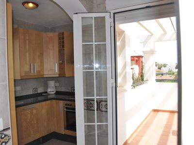 Isla Canela villa rental - Upstairs Kitchen, Access Dining Terrace, Sea View