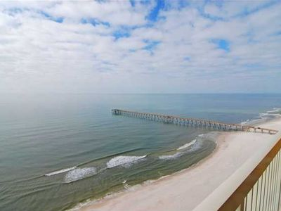 Awe-inspiring view of the beach and Dan Russell Fishing Pier...