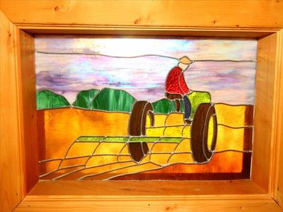 JOHN DEERE STAIN GLASS.   GAMES, Wii Games, Jigsaw Puzzles,Movies, CD player,etc