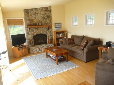 Spacious LR with River Rock Gas Fireplace, sleeper-sofa, HDTV+