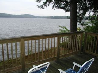 Sebago cottage photo - Deck overlooking the water