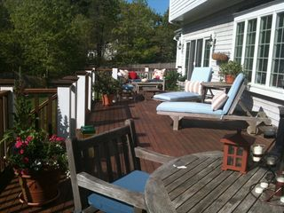 Centerville house photo - Huge Deck Overlooking Large Lawn & Gorgeous Gardens. New cushions & pillows.
