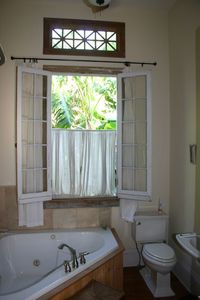 master bathroom with french windows looking out to banana grove