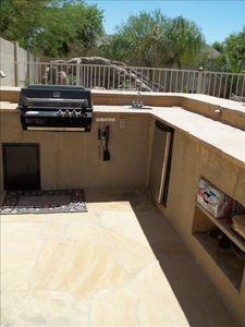 Outdoor bar with grill and mini frig!