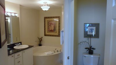 Mstr Bath w/ dbl vanity, garden tub, sep shower, priv toilet, & walk in closet!