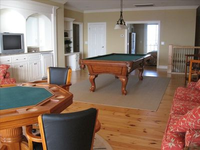 Upper level living area with pool table, game table, big screen TV and wet bar