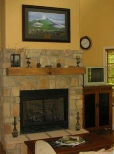 Stone Fireplace at Li'l Built-more