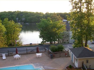 A View from the Deck: The Pool, The Sandy Beach and the Lake