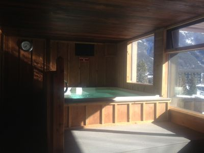 Mountain Plaza has an indoor and two outdoor hot tubs!