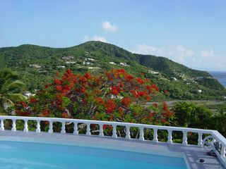 Montserrat villa photo - Properties on Isles Bay Hill - the old Belham Valley Golf in the foreground