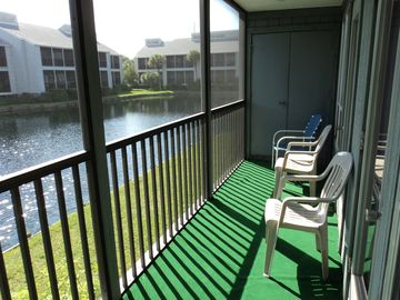 Screened lanai with Lake-view.