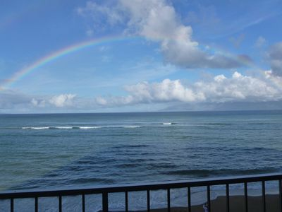 Unbelievable rainbows almost daily, while you relax on our ocean-front lanai