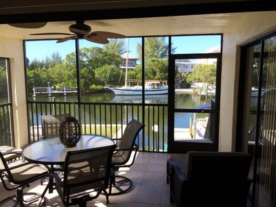 The lanai - enjoy sunsets and the sounds of the Gulf surf only 200' away.