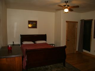 Guffey farmhouse photo - Master suite with king bed and full bath