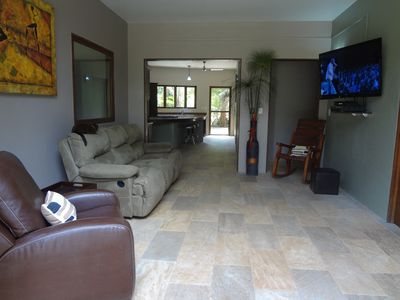 Uvita estate rental - Downstairs Lounge with Flat Screen HD TV.
